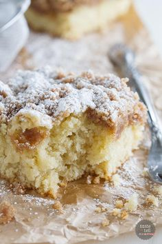 A thick layer of sweet crumbs tops a tender and moist cake in this Crumb Cake Recipe.