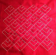red and white diamond sashiko pattern