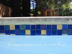 Gallery #43 | lightstreams Glass Pool Tile, Pool Tiles, Rectangle Pool, Tile Installation, Swimming Pools, Gallery, Outdoor Decor, Colors, Ideas