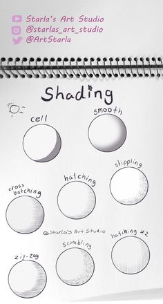 Shading Types Tutorial Here is a drawing of a few different ways to shade a drawing Examples given are cell smooth stippling hatching hatching 2 cross hatching scumbling. Pencil Art Drawings, Art Drawings Sketches, Easy Drawings, How To Shade Drawings, Random Drawings, Sketch Art, Animal Drawings, Shading Techniques, Art Techniques