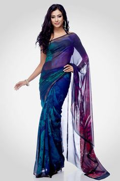 """A digital printed saree inspired by the Tarot card """" The wheel of fortune"""", comes with an unstitched crepe-de-chine blouse to match."""