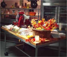 A festive setting in the Aujourd'hui kitchen for your next event.