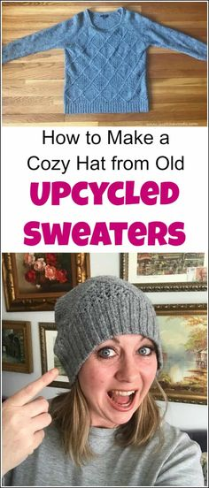 How to Make a Cozy Hat from Old Upcycled Sweaters Not sure what to do with old sweaters? There are many things to do with upcycled sweaters. Upcycling sweaters to make a cozy hat takes less than an hour! Alter Pullover Diy, Sewing Clothes, Diy Clothes, Clothes Refashion, Old Sweater Crafts, Pullover Upcycling, Sweater Hat, Recycled Sweaters, Crochet Mittens