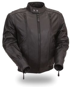 Mens Classic Bomber Leather Motorcycle Jacket by First Mfg. www.mymotorcycleclothing.com