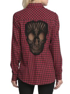 Clothes Indie Plaid - Skull Hollow Out Women Blouses Plaid Shirts Long Sleeve Blouse Spring Summer Blusas Mujer Haut Ete Plus Size XXXXL Chemise Red. Red And Black Top, Looks Black, Ropa Punk Rock, Lace Skull, Alternative Rock, Mode Steampunk, Shirt Blouses, Plaid Shirts, Skull Shirts