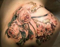 Beautiful Old-Fashioned Roses by Stephanie Brown of Butterfat Tattoo.