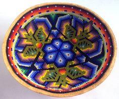 Mexican Huichol Beaded Peyote and Eagle Sacred Gourd by Aramara