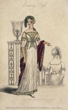 February evening dress, 1810 England, La Belle Assemblée