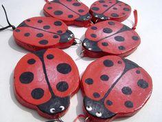 Ladybug Salt Dough Decorations x 6 by VioletHouseCrafts on Etsy, $15.00