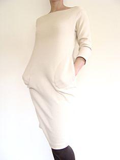 Ivory dress knit fabric dress with pockets by BoskaDekadencja