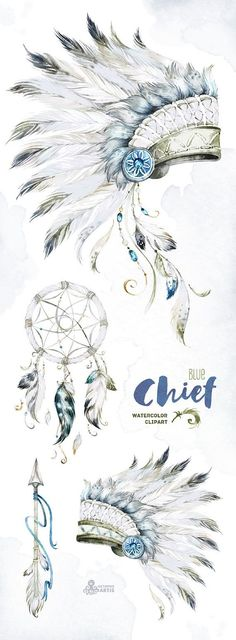 Chief Blue. Native Warbonnets, Dreamcatcher and Arrow. Watercolor. Tribal, boy, navy-blue, headdress, feather, diy, quote, boho, indian, diy