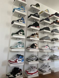 A tight space or an unused wall? You can also choose to hang it vertically or horizontally depending on space and storage needs. Wall Shoe Rack, Shoe Wall, Wall Shelf Unit, Wall Shelves, Shallow Shelves, Ikea Lack, Local Hardware Store, Shoe Display