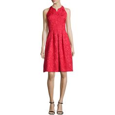 Carmen Marc Valvo Sleeveless Fit & Flare Cocktail Dress featuring polyvore, women's fashion, clothing, dresses, tomato, carmen marc valvo cocktail dress, sleeveless fit and flare dress, fit and flare dress, fit flare dress and red fit and flare dress
