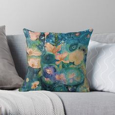 'Fantasy Flowers' Throw Pillow by Adele Buys Framed Prints, Canvas Prints, Art Prints, Get Free Stuff, Stuff To Buy, Goldendoodle, Designer Throw Pillows, Pillow Design, Sell Your Art