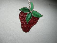 Strawberry stained glass suncatcher by NitasStainedGlass on Etsy