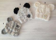 NEW Newborn baby knit hat,Baby knit hat,Button,Photo prop ,Christening,Cream,Gray,Crazy yarn,Comfort yarn