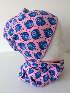 Mützen - Beanie Mütze + Loop Rosa Blau Muster - 25.00 € ein Designerstück von sweetysbysvenja bei DaWanda
