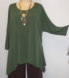 Coco and Juan Lagenlook Plus Size Top Olive by COCOandJUAN on Etsy