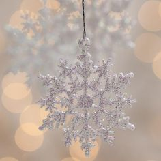 White Iridescent Glitter Snowflake Ornaments - Snow - Snowflakes - Glitter - Christmas and Winter - Holiday Crafts