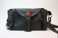 Купить Кожаная сумочка в стиле бохо - черный, сумочка ручной работы, сумочка через плечо