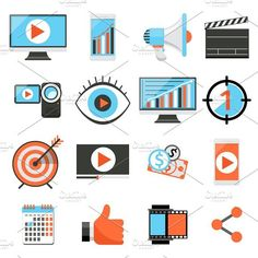 Media marketing flat vector icons. Technology icons. $5.00