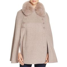 Maximilian Furs Fox Fur Collar Wool & Cashmere Cape - Bloomingdale's... ($725) ❤ liked on Polyvore featuring outerwear, wool cape, woolen cape, maximilian furs, brown cape and cape coat