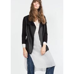 [zara] knit jacket with leather contrast stylish knit jacket with faux leather, draped front. Great spring jacket to wear with long poplin shirts and leggings. Worn minimally. My sister and I bought way too much leather the last two seasons and are trying to streamline our closets! Excellent condition. Zara Jackets & Coats