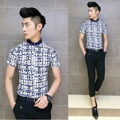 New Metrosexual Men Fashion Casual Shirts Slim Asian Stylish Floral Splicing Hot Summer Tops $24.88