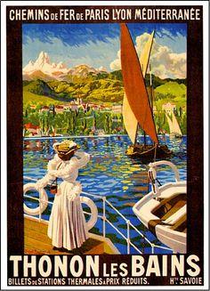 1920s Thonon les Bains Ocean Liner Travel Poster Print | eBay