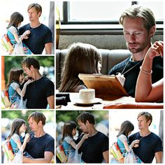 On the set of What Maisie Knew: Onata Aprile seems fascinated by Alexander Skarsgård's anchor necklace. Ah well, kids and adults' necklaces, always playing with them !!!