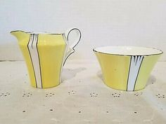 Find many great new & used options and get the best deals for Royal Albert Crown China Cream And Sugar Yellow With White And Black Made In.. at the best online prices at eBay! Free shipping for many products!