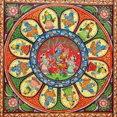 Pattachitra- Proudly presenting the indigenous form of traditional art from Odisha. Ancient Indian Art, Indian Folk Art, Mughal Paintings, Indian Art Paintings, Madhubani Art, Madhubani Painting, Indian Traditional Paintings, Traditional Art, Mehndi Art Designs