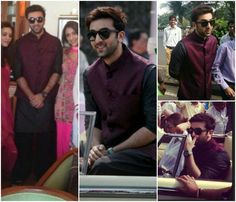 Ranbir Kapoor turned up at the Republic Day parade in Mumbai looking absolutely delish in a wine colored silk bandi worn over a black silk kurta and salwar by Anita Dongre. Mens Indian Wear, Indian Groom Wear, Indian Men Fashion, Men's Fashion, Traditional Indian Mens Clothing, Mens Traditional Wear, Traditional Jacket, Wedding Dresses Men Indian, Wedding Men