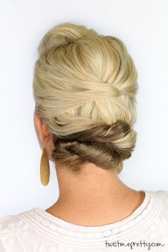 Soft updo for short hair- for long hair, wrap the end into a polished bun
