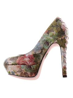 I am dying for a pretty floral print pump like this, but I'd like a bit more dainty/delicate of a print, with lighter colors.