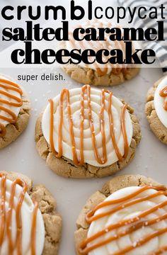 Gourmet Cookies, Cookie Desserts, Yummy Cookies, Fun Baking Recipes, Best Cookie Recipes, Cooking Recipes, Salted Caramel Cookies, Salted Caramel Cheesecake, Crumble Cookie Recipe