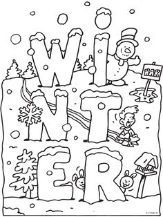 Kleurplaat Winter met sneeuw - Kleurplaten.nl