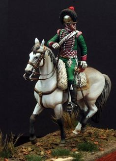 Sicilian Mounted Light Dragoon from the collection of Bill Detert. Sculpted and painted by Marion and Alan Ball of Switzerland