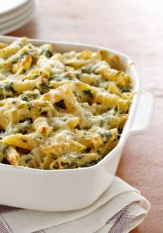 Four Cheese Pasta Florentine – We love having a warm, cheesy pasta casserole on the table, and four kinds of cheese make this one extra special.