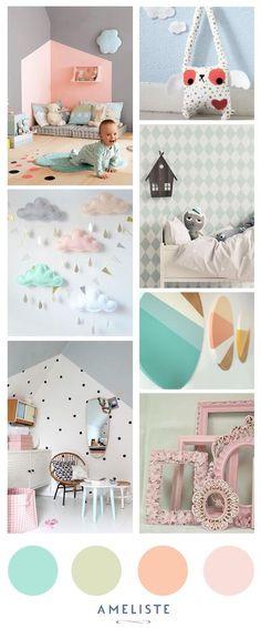 Mood Board nursery room // Baby room pastel // Decoration baby room #baby #deco