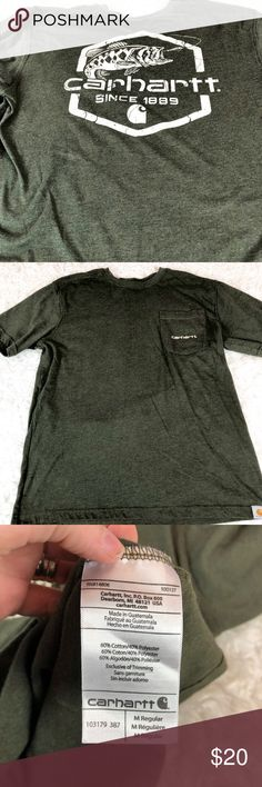 55d5348b4 Carhartt Relaxed Fit Green Fishing Logo T-shirt Chest pocket on front with  logo.