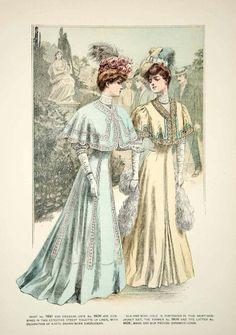 1906 Offset Lithograph Delineator Art Nouveau Edwardian Ladies Costume Silk Cape