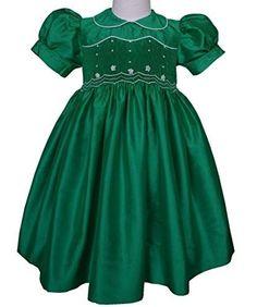 Emerald Green Mardi Gras Theme Flower Girl Smocked Dress, Size: 4T