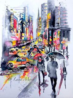 New York City inspiré Aquarelle par Lana Moes - Art contemporain, décoration - nostalgie romantique