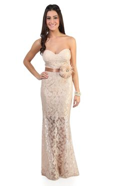 all over lace corset style long prom dress with godet skirt - debshops.com$99