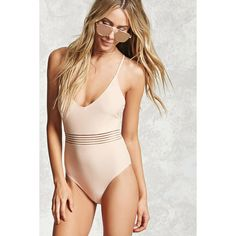 Forever21 Mesh-Stripe One-Piece Swimsuit (€26) ❤ liked on Polyvore featuring swimwear, one-piece swimsuits, nude, strappy one piece bathing suit, cross back one piece swimsuit, forever 21 bathing suits, 1 piece bathing suits and mesh swimsuit