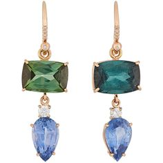 Irene Neuwirth Diamond Collection Mixed-Gemstone Double-Drop Earrings- ($14,900) ❤ liked on Polyvore featuring jewelry, earrings, colorless, anchor jewelry, gemstone drop earrings, clear drop earrings, diamond accent earrings and round earrings