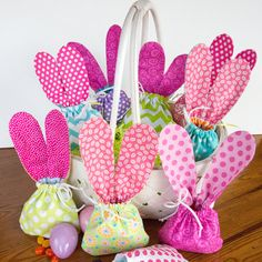 Drawstring Bunny Ears Jelly Bean Bags - Easter gift bags - fabric and reusable - eco friendly