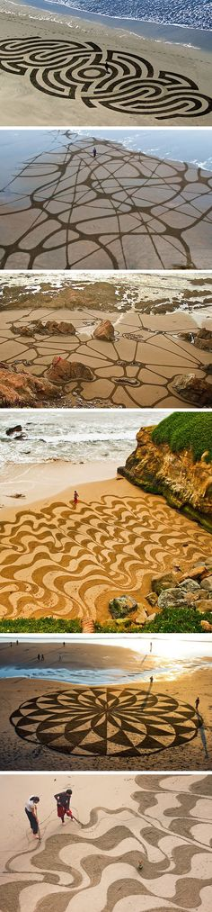 More awesome examples of land art by Andres Amador. Land Art, Performance Artistique, Mandala Art, Street Art, Instalation Art, Outdoor Art, Environmental Art, Beach Art, Public Art