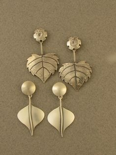 leaf_flower_earrings...pinned by ♥ wootandhammy.com, thoughtful jewelry.